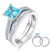 Princess Cut 2-Pcs  Blue  Silver Wedding Engagement Ring Set XFR8196S