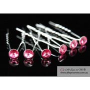 6 Pink Crystal Hair Pins P1101