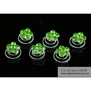 6  Green Flower Crystal Hair Twists P1128