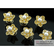 6 pcs X Gold Pearl Crystal Flower Hair Twists P1135