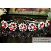 6 pcs Set X Red Flower Crystal Hair Pins P1148