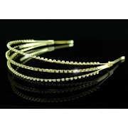 3 Row Rhinestone Gold Headband Tiara T1117