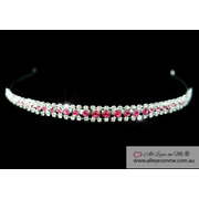 3 Row Pink Clear Crystal Headband Tiara T1204
