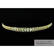 3 Row Clear Crystal Gold Plate Headband Tiara T1206