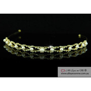 Clear Crystal Faux Pearl Gold Plate Headband Tiara T1223