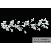 Crystal Faux Pearl Leaf Leaves Tiara T1277