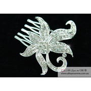 Flower Crystal Side / Back Hair Comb T1321