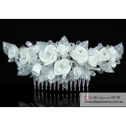 White Rose Fabric Crystal Hair Comb T1394
