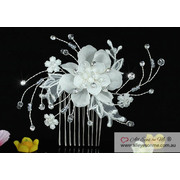 Ivory Fabric Flower Crystal Hair Comb T1463