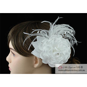 Fascinator White Feather Hair Flower T1632