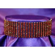 10 Row Ruby Red Crystal Rhinestone Choker XC022