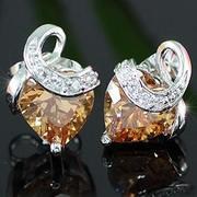 Heart Amber Sapphire Stud Earrings XE294