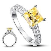 Princess Cut Yellow Canary  Silver Wedding Engagement Ring XFR8194