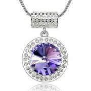 Purple Pendant Necklace Crystal XN413
