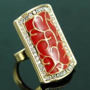 Vintage Style Red Gold Ring Crystal XR046