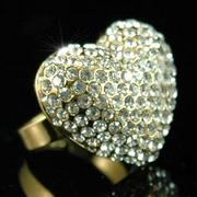 3D Heart Gold Ring Crystal XR047
