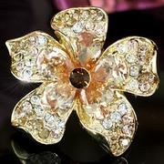 Jumbo Queen Flower Gold coloured Crystal Ring XR122