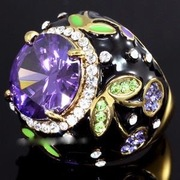 Purple Flower Ring Crystal XR163