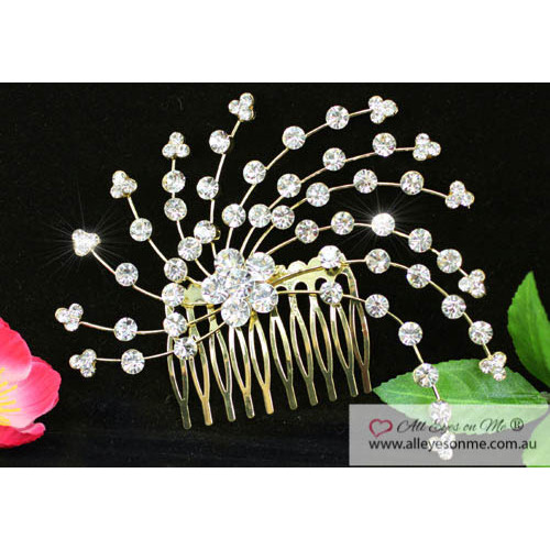 Crystal Gold Hair Comb T1345