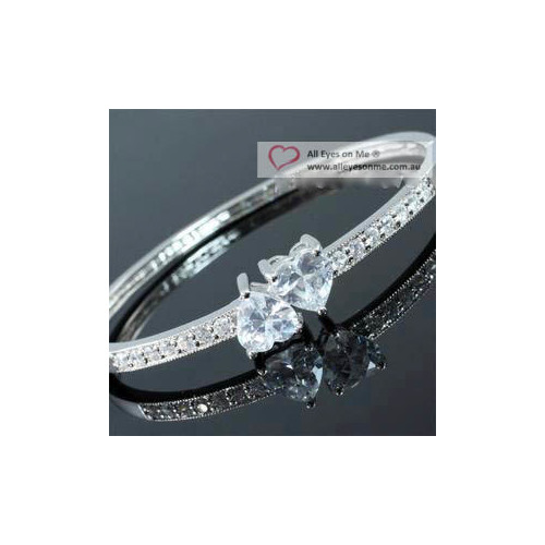 Heart  Silver Tone Bangle XB138