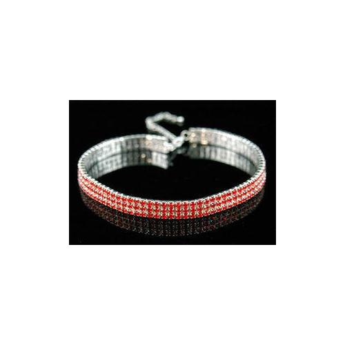 3 Row Stretch Red Crystal Rhinestone Choker XC006