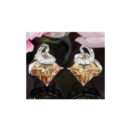 Amber Colour Sapphire Stud Earrings XE270