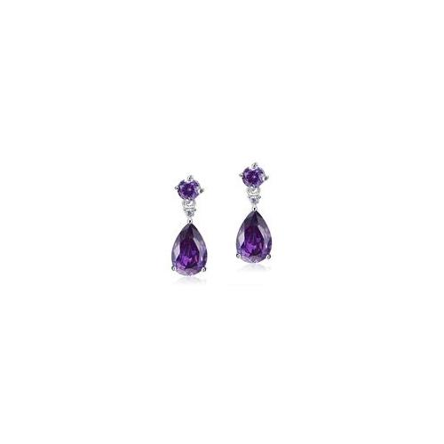 Pear Cut Purple Sapphire Silver Dangle Earrings XFE8059