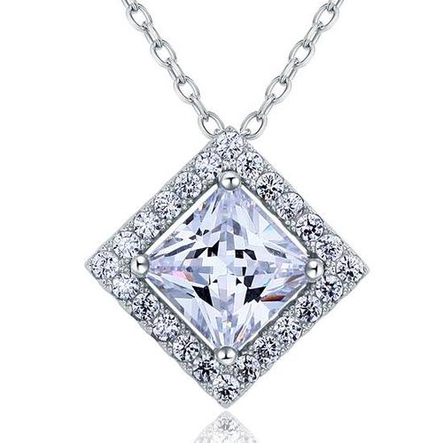 Princess Cut Silver Pendant Necklace XFN8036