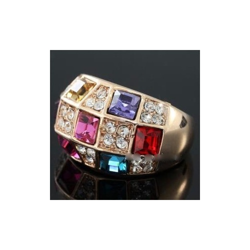 Multi-Colour Rose Gold coloured Ring Crystal XR173